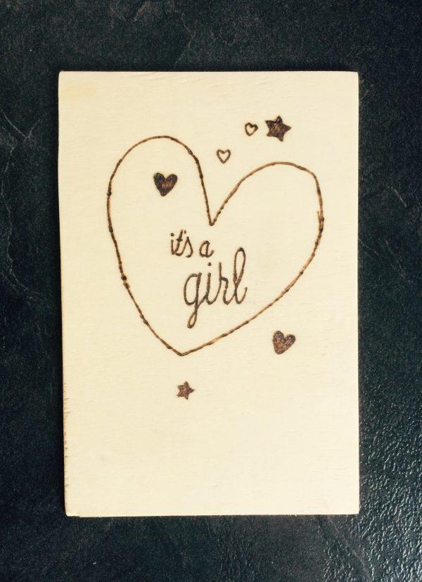 Houten kaart; It's a girl