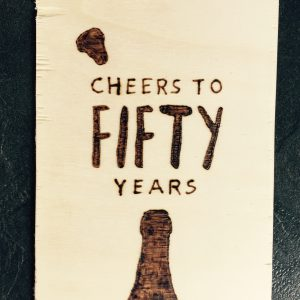 Houten kaart; Cheers to fifty years