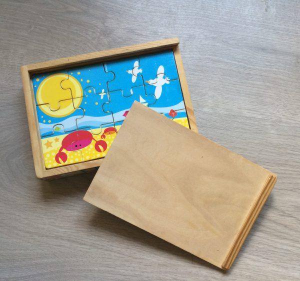 kraamcadeau; Geboortekaartje in puzzel gebrand